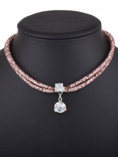 Rhinestone Mesh Pendant Necklace - Rose Gold