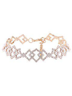 Hollow Out Rhinestoned Rhombus Necklace - Champagne