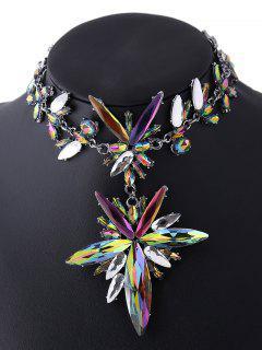 Polished Rhinestone Floral Necklace
