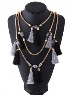 Multilayer Tassel Pendant Necklace - Black Grey