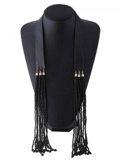 Faux Leather Beads Necklace - Black
