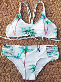 Strappy Coconut Trim Print Bikini - White L