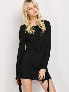 Lace Panel A-Line Dress - Black S