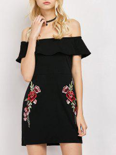 Rose Off The Shoulder Bodycon Dress - Black S