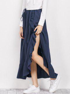 Drawstring Ruffles Slit Skirt - Blue S