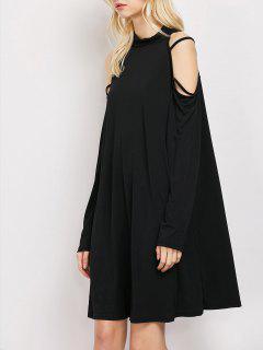 Long Sleeve Loose Cold Shoulder Swing Dress - Black M