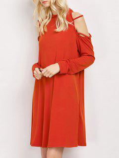 Long Sleeve Loose Cold Shoulder Swing Dress - Red M