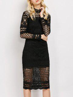 Long Sleeve Geometric Lace Dress - Black S