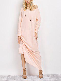Skew Neck Long Sleeve Loose Maxi Dress - Light Apricot Pink S