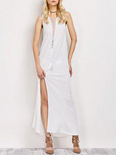 High Slit Lace-Up Maxi Dress - White L
