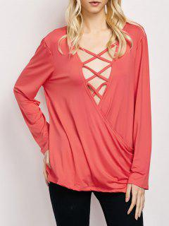 Wrap Cut Out T-Shirt - Red M