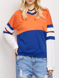 Color Block Casual Sweatshirt - Blue M