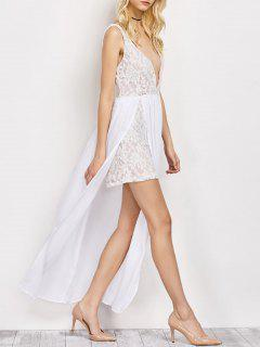 Lace Panel Slit Prom Dress - White L