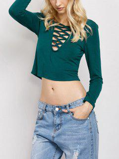 Cut Out Lace-Up T-Shirt - Green M