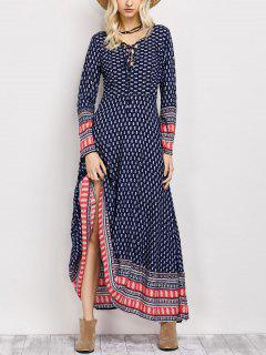 Retro Print Lace Up Long Dress With Sleeves - Blue Xl
