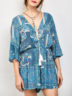 Paisley Print V Neck Lace Up Playsuit - Azure S