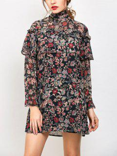 Long Sleeve Tiny Floral Ruffles Dress - Floral S