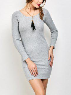 Strappy Long Sleeve Ribbed Sweater Dress - Gray S