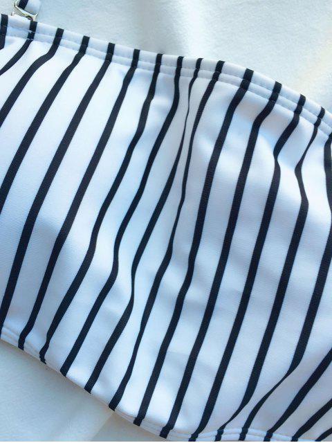 affordable Off The Shoulder Strappy Striped Bikini Set - WHITE M Mobile