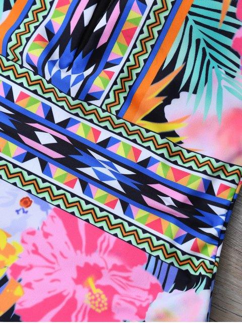 shop Tropical Print Mesh Insert Plunge Swimwear - FLORAL XL Mobile
