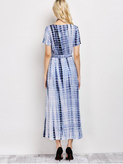 trendy Tie-Dyed Short Sleeve Surplice Maxi Dress - DEEP BLUE XL Mobile