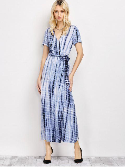 chic Tie-Dyed Short Sleeve Surplice Maxi Dress - DEEP BLUE M Mobile