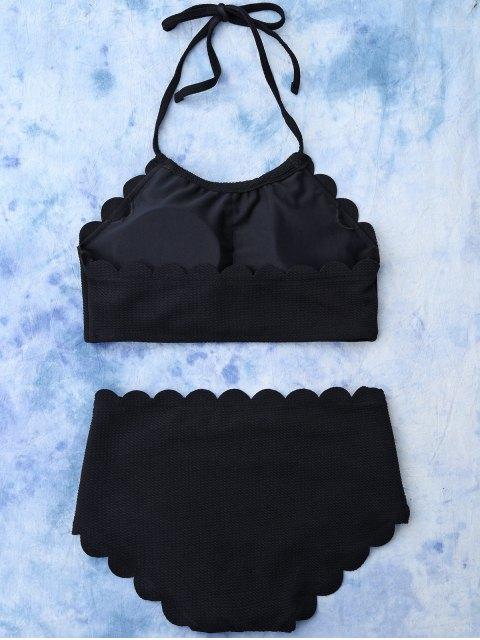 new High Rise Halter Scalloped Bathing Suit - BLACK L Mobile