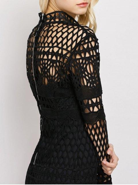 Robe midi en dentelle géométrique à manches longues - Noir S Mobile