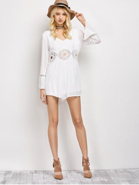 lady Lacework Panel V Neck Romper - WHITE M Mobile
