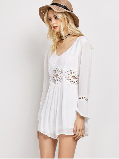 best Lacework Panel V Neck Romper - WHITE S Mobile