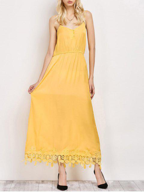 ladies Lace Panel Cami Midi Dress - YELLOW S Mobile