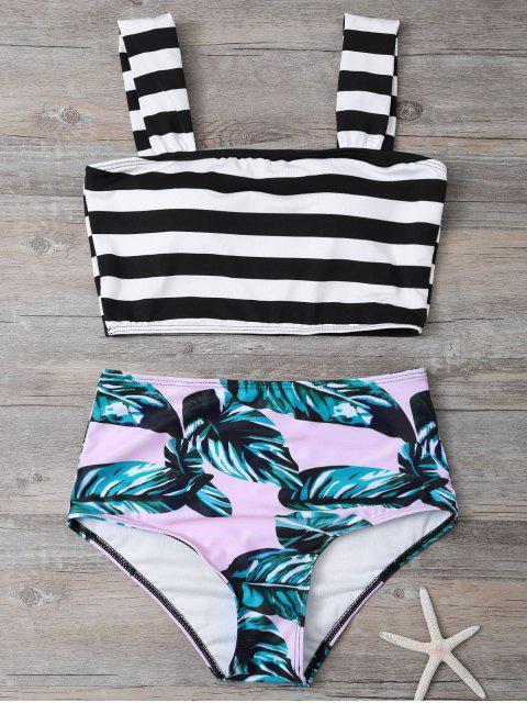 outfit Tropical Print Striped Bikini Set - COLORMIX S Mobile