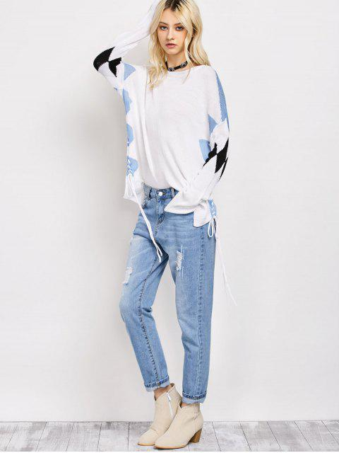 sale Lace Up Color Block Oversized Sweater - WHITE XL Mobile
