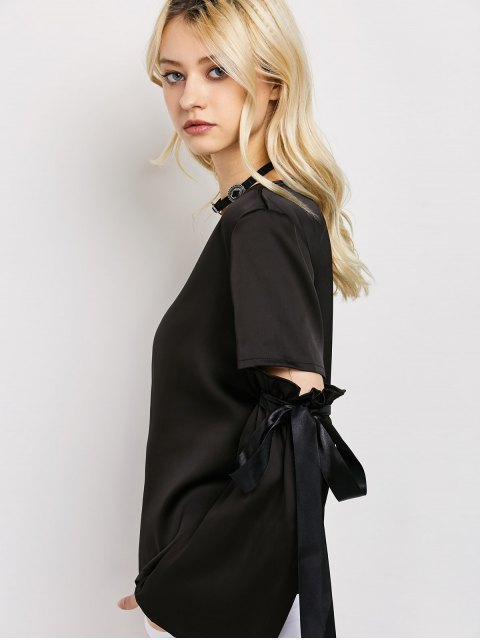 chic Tied Round Neck Cut Out Top - BLACK XL Mobile