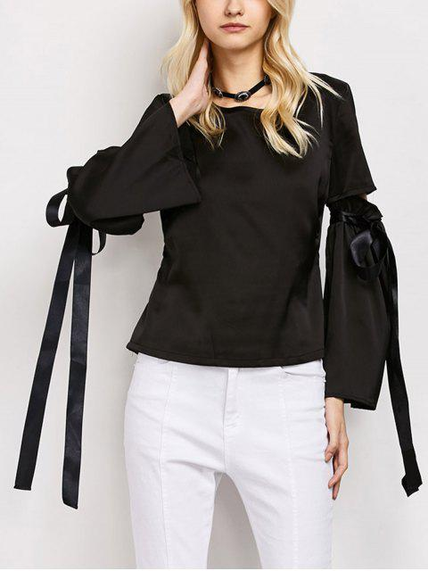 sale Tied Round Neck Cut Out Top - BLACK S Mobile