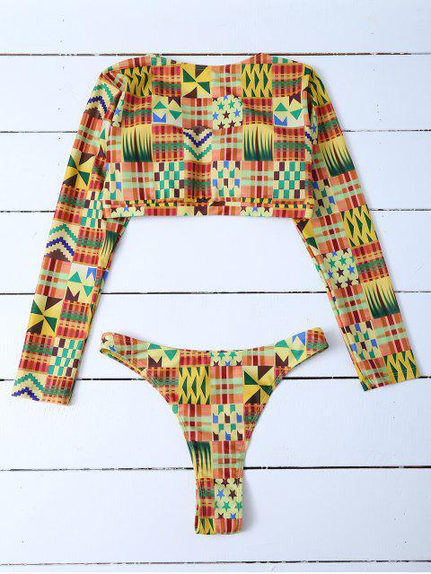best Cropped High Cut Rashguard Bikini Set - MULTICOLOR L Mobile