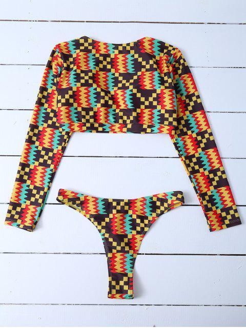 women's Padded Cropped Rashguard Bathing Suit - MULTICOLOR L Mobile