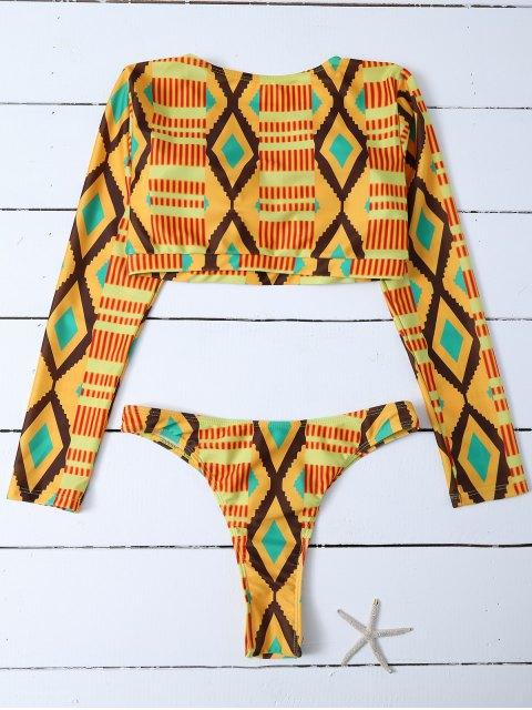 shop Printed Long Sleeve Bathing Suit - MULTICOLOR S Mobile