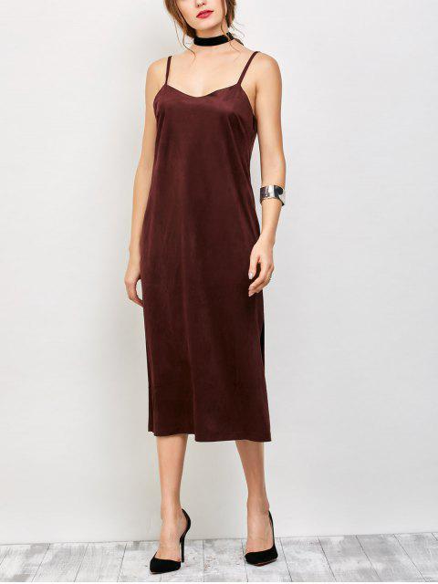 affordable Faux Suede Slip Dress - BURGUNDY S Mobile