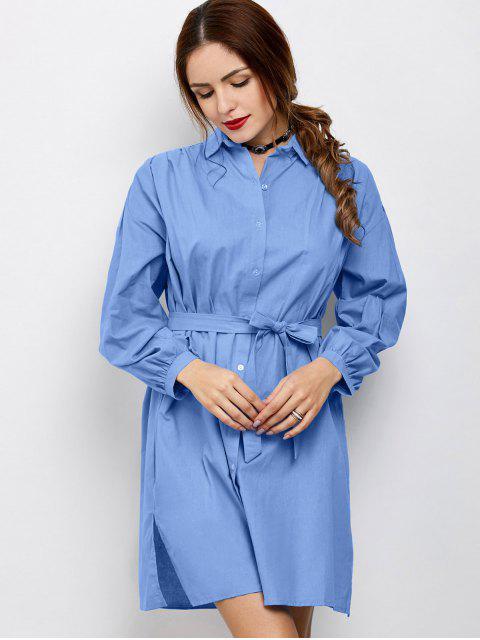 affordable Slit Bowknot Shirt Dress - BLUE M Mobile