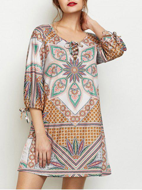 outfits Printed Lace Up Tunic Dress - MULTICOLOR XL Mobile