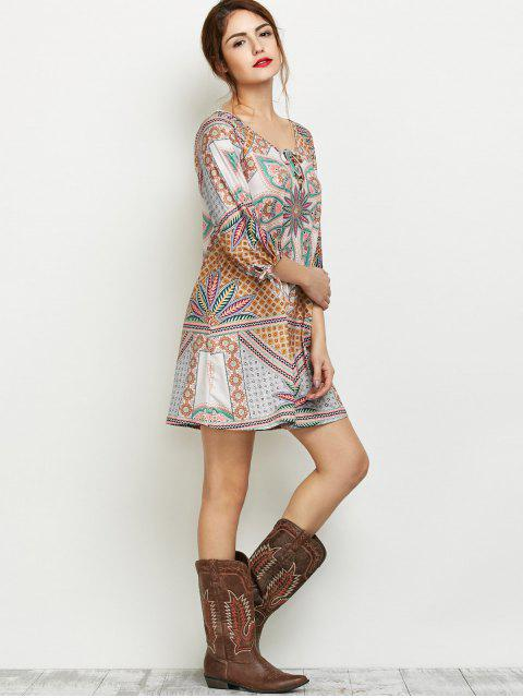 shops Printed Lace Up Tunic Dress - MULTICOLOR M Mobile
