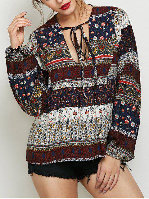 online Printed Bubble Sleeve Peasant Top - MULTICOLOR XL Mobile