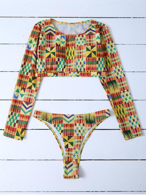 new Cropped High Cut Rashguard Bikini Set - MULTICOLOR M Mobile