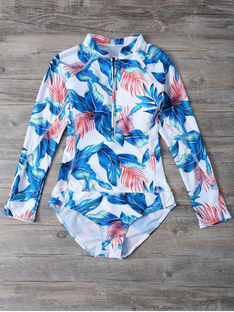 lady Zip Leaf Print Long Sleeve One Piece Swimsuit - WHITE L Mobile