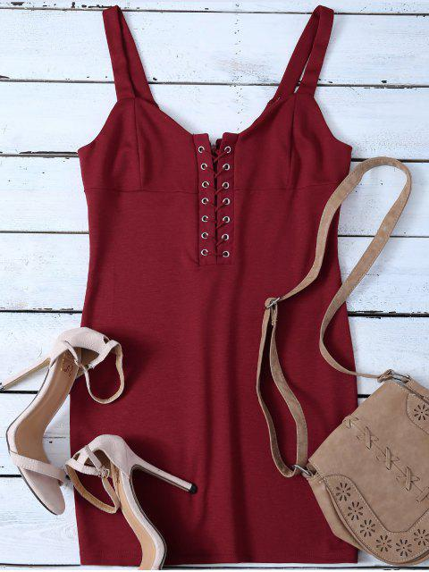 outfits Straps Lace Up Bodycon Mini Dress - RED L Mobile
