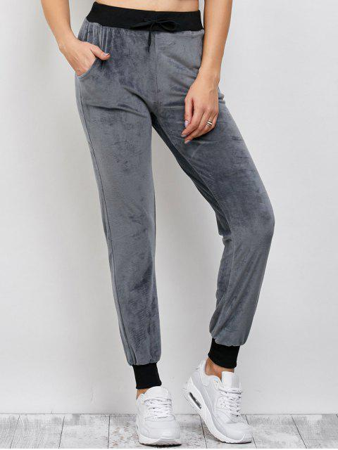 ladies Drawstring Velvet Sports Pants - DEEP GRAY XL Mobile