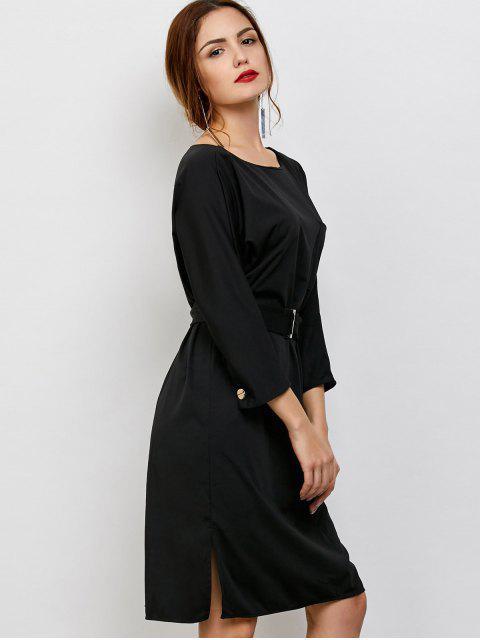 women's Belted Slit Long Sleeve A-Line Dress - BLACK ONE SIZE Mobile