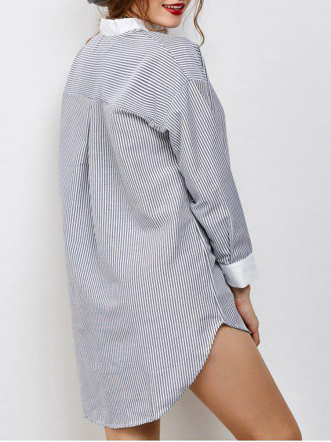 fashion Striped High-Low Shirt - WHITE AND BLACK ONE SIZE Mobile