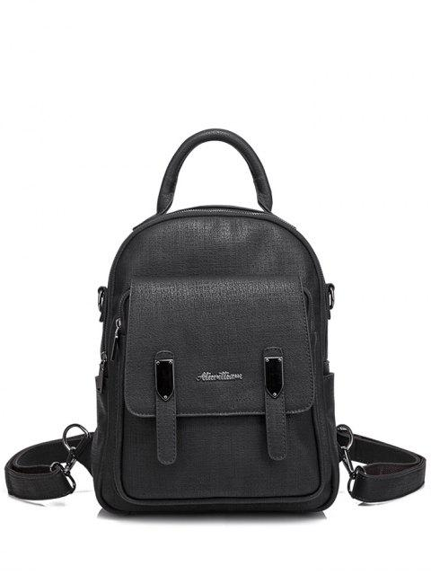 hot Pocket Faux Leather Double Zipper Backpack - BLACK  Mobile